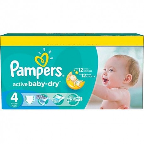 Pack 132 Couches Pampers Active Baby Dry taille 4 sur Promo Couches