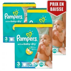 Giga Pack 246 Couches Pampers Active Baby Dry taille 3