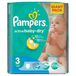 Paquet 82 Couches Pampers Active Baby Dry taille 3