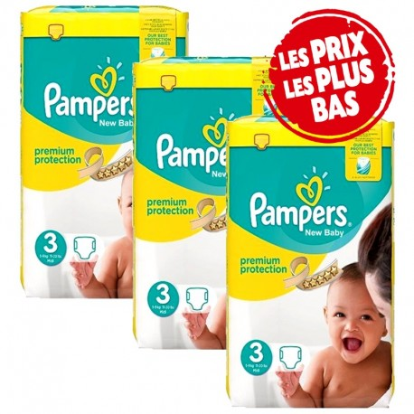 Mega Pack 174 Couches Pampers Premium Protection - New Baby taille 3 sur Promo Couches