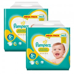 Mega Pack 256 Couches Pampers Premium Protection - New Baby taille 5+ sur Promo Couches