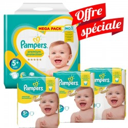 Pack Jumeaux 416 Couches Pampers Premium Protection - New Baby taille 5+ sur Promo Couches