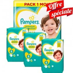 Maxi Giga Pack 480 Couches Pampers Premium Protection - New Baby taille 6
