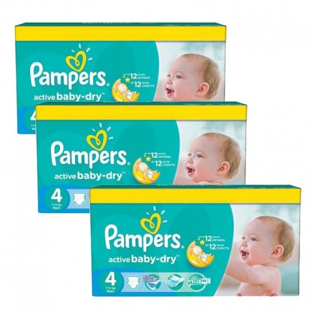 Maxi Giga Pack 360 Couches Pampers Active Baby Dry taille 4 sur Promo Couches