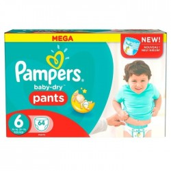Pack 64 Couches Pampers Baby Dry Pants taille 6 sur Promo Couches
