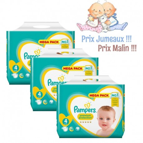 Giga Pack Jumeaux 468 Couches Pampers New Baby - Premium Protection taille 4 sur Promo Couches