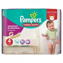 Pack 32 Couches Pampers Active Fit Pants taille 4