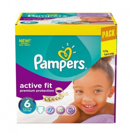 Pack 120 Couches Pampers Active Fit - Premiun Protection taille 6 sur Promo Couches