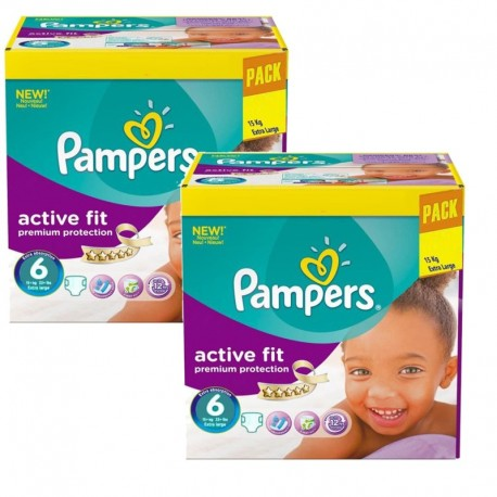 Maxi Giga Pack 240 Couches Pampers Active Fit - Premiun Protection taille 6 sur Promo Couches