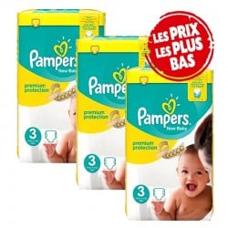 Mega Pack 200 Couches Pampers New Baby - Premium Protection taille 3 sur Promo Couches