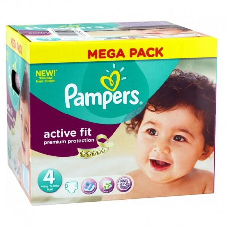 Pack 168 Couches Pampers Active Fit - Premium Protection taille 4 sur Promo Couches