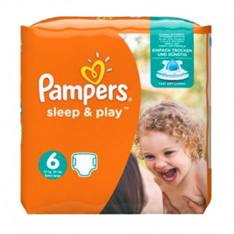 Pack 30 Couches Pampers Sleep & Play taille 6 sur Promo Couches