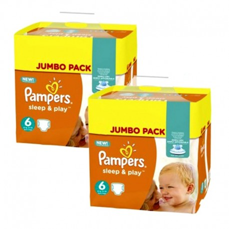 Giga Pack 210 Couches Pampers Sleep & Play taille 6 sur Promo Couches