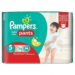 Pack 36 Couches Pampers Baby Dry Pants taille 5 sur Promo Couches