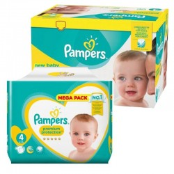 Mega Pack 117 Couches Pampers new baby - premium protection taille 4 sur Promo Couches