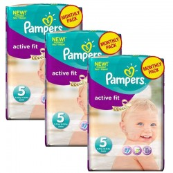Mega Pack 282 Couches Pampers Active Fit taille 5 sur Promo Couches