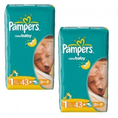 Pack 86 Couches Pampers New Baby Dry taille 1 sur Promo Couches