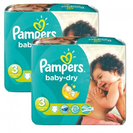 102 Couches Pampers Baby Dry taille 3 sur Promo Couches