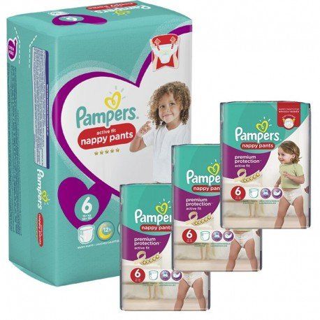 Giga Pack 140 Couches Pampers Active Fit - Pants taille 6 sur Promo Couches