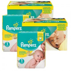 Mega Pack 384 Couches Pampers new baby - premium protection taille 1 sur Promo Couches