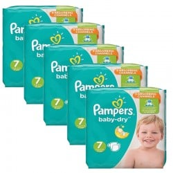Mega Pack 210 Couches Pampers Baby Dry taille 7 sur Promo Couches