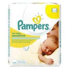 Pack 56 lingettes bébé Pampers New Baby Sensitive sur Promo Couches