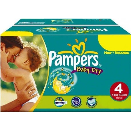 Giga pack 205 Couches Pampers Baby Dry taille 4+ sur Promo Couches