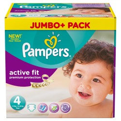 Giga pack 246 Couches Pampers Active Fit Premium Protection taille 4 sur Promo Couches