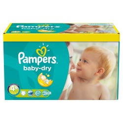 Maxi giga pack 369 Couches Pampers Baby Dry taille 4+ sur Promo Couches