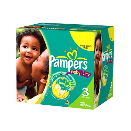 Pack 136 Couches Pampers de la gamme Baby Dry de taille 3 sur Promo Couches