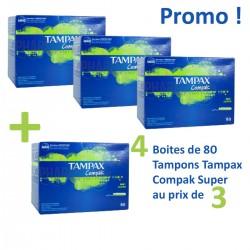 Pack économique d'une quantité de 320 Tampons Tampax Compak - 4 au prix de 3 de taille SuperavecApplicateur sur Promo Couches